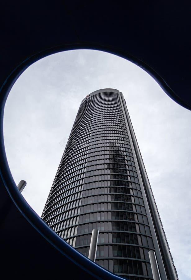 Cuatro Torres Business Area (CTBA) building skyscraper, in Madrid, Spain stock photo