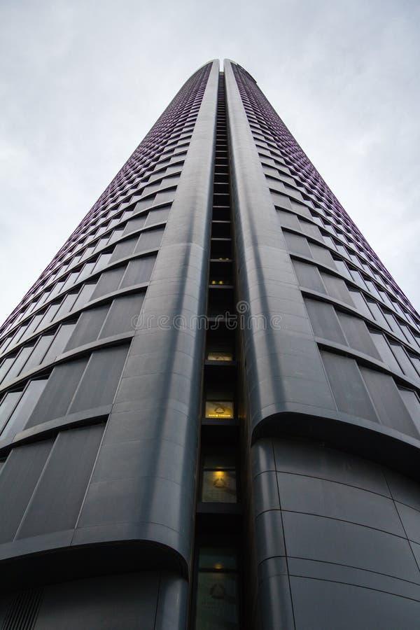 Cuatro Torres Business Area (CTBA) building skyscraper, in Madrid, Spain stock image