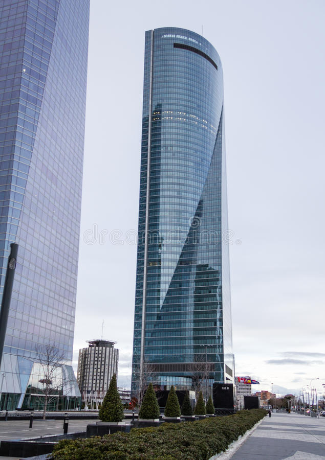 Cuatro Torres Business Area (CTBA) building skyscrapers, in Madrid, Spain royalty free stock photography
