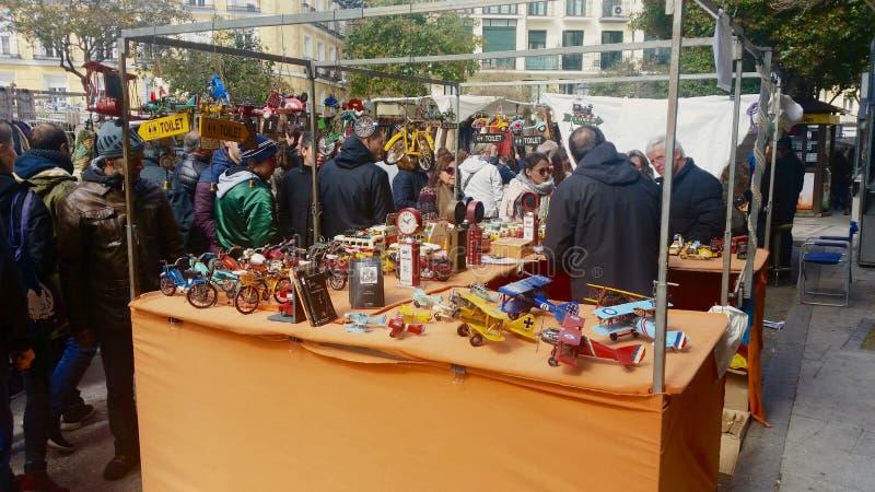 People in Rastro market of Madrid stock photography