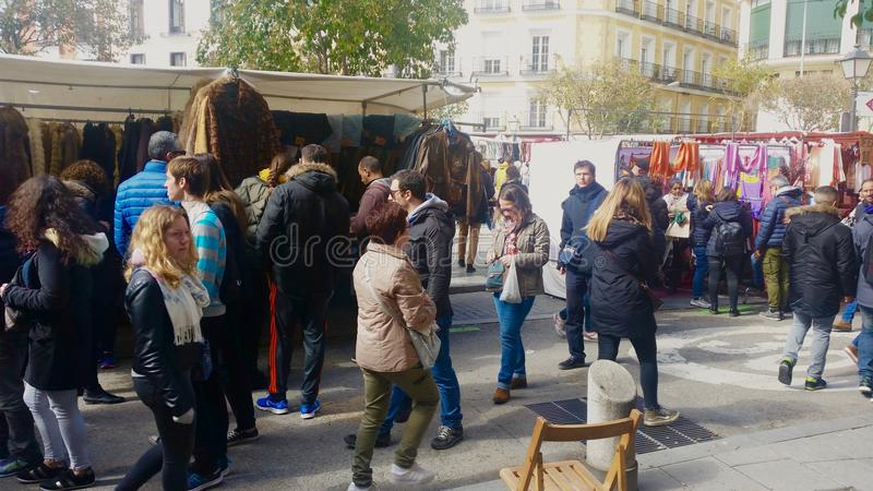People in Rastro market of Madrid royalty free stock images