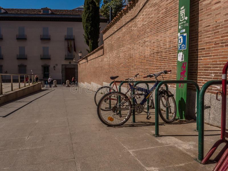 MADRID, SPAIN - MARCH, 2017: A public parking for bicycles in Madrid. royalty free stock photography