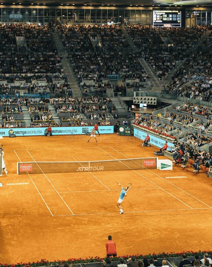Madrid, Spain; 11 may 2019: The Caja Magica tennis center during the 2019 Mutua Madrid Open ATP Premier Mandatory tennis. Tournament, men semifinal Rafa Nadal stock photo