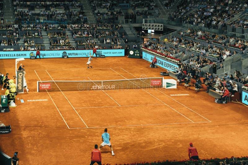 Madrid, Spain; 11 may 2019: The Caja Magica tennis center during the 2019 Mutua Madrid Open ATP Premier Mandatory tennis. Tournament, men semifinal Rafa Nadal stock photography