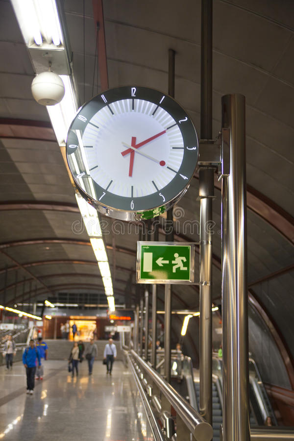 MADRID, SPAIN - MAY 28, 2014: Clock, Tube, underground station stock images
