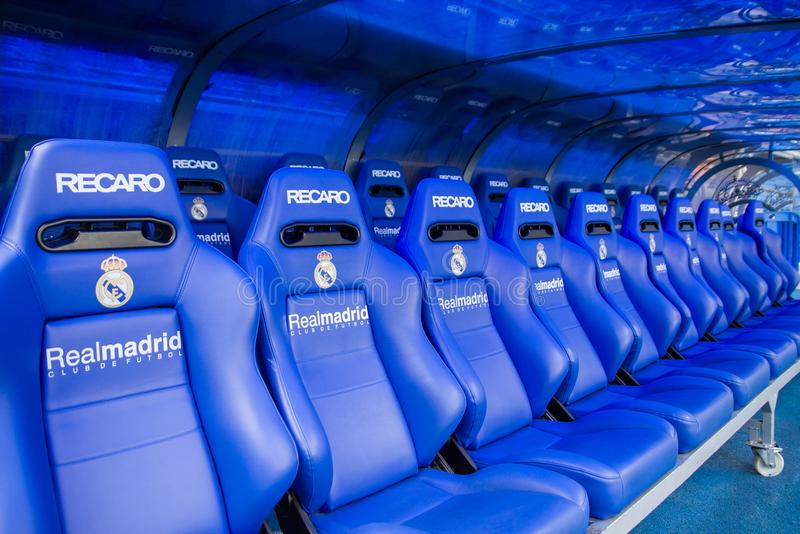 MADRID, SPAIN - MAY 14, 2009: coach and reserves bench on the Santiago Bernabeu stadium in Madrid. Home arena of Real Madrid CF. R stock images