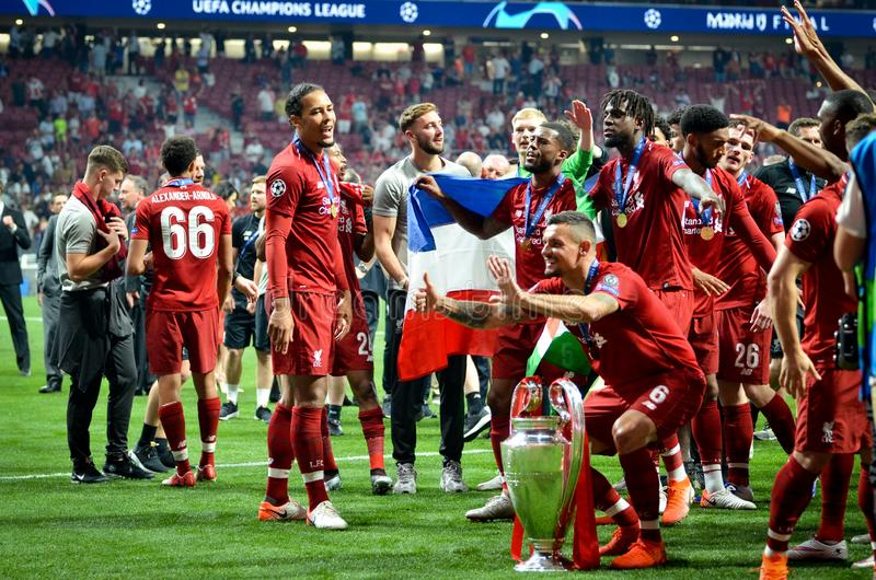 Madrid, Spain - 01 MAY 2019: Dejan Lovren and players celebrate their winning of the UEFA Champions League 2019 after the final. Game at Wanda Metropolitano stock images
