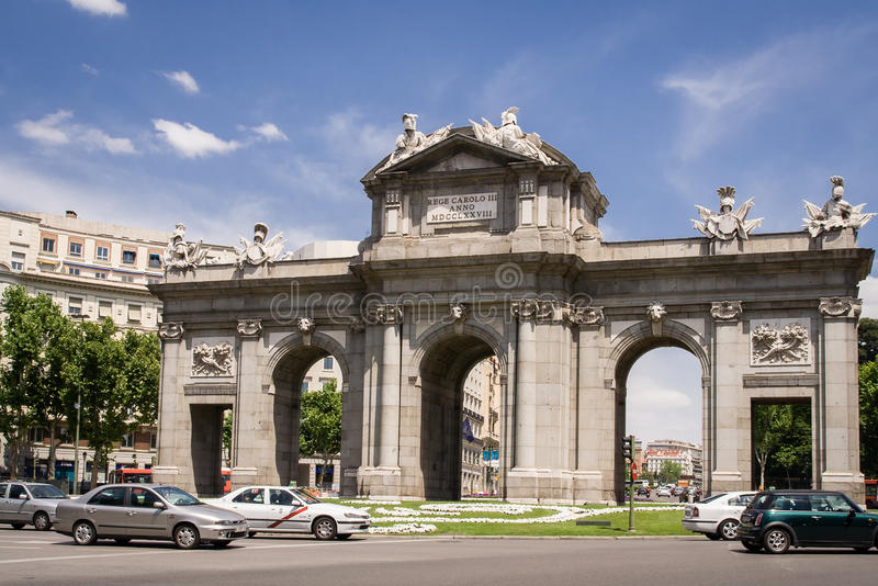 MADRID, SPAIN - MAY 13, 2009: Famous Puerta de Alcala, Madrid, cibeles district, Spain. Madrid is the capital and the largest city stock image
