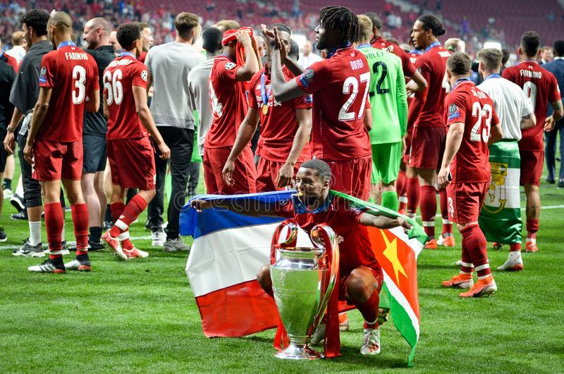 Madrid, Spain - 01 MAY 2019: Georginio Wijnaldum with cup celebrate their winning of the UEFA Champions League 2019 after the. Final game at Wanda Metropolitano royalty free stock photo
