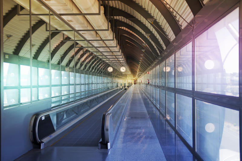 MADRID, SPAIN - MAY 28, 2014: Interior of Madrid airport, departure waiting aria stock image