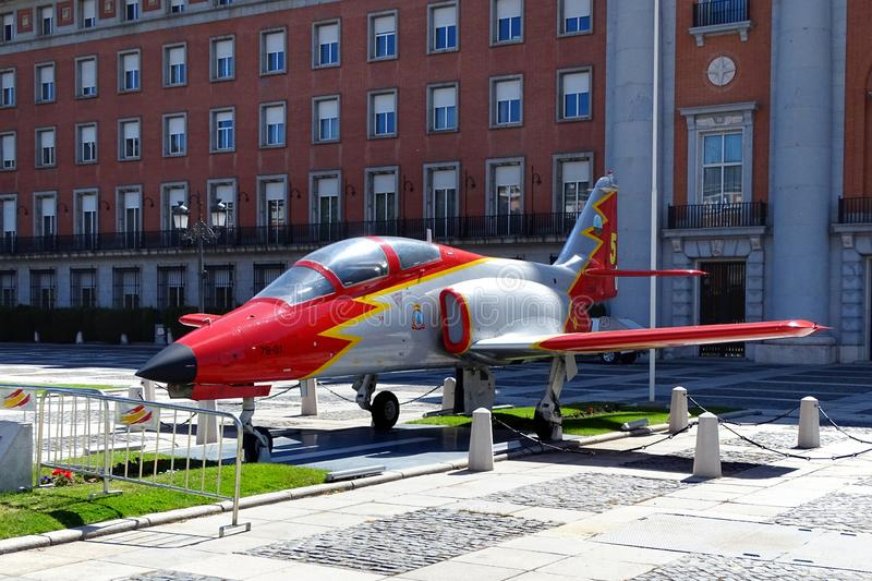 Jet plane in front of the Spanish Air Force Headquarters in Madrid, Spain. Madrid, Spain - May 1, 2017: Jet plane in front of the Spanish Air Force Headquarters royalty free stock image