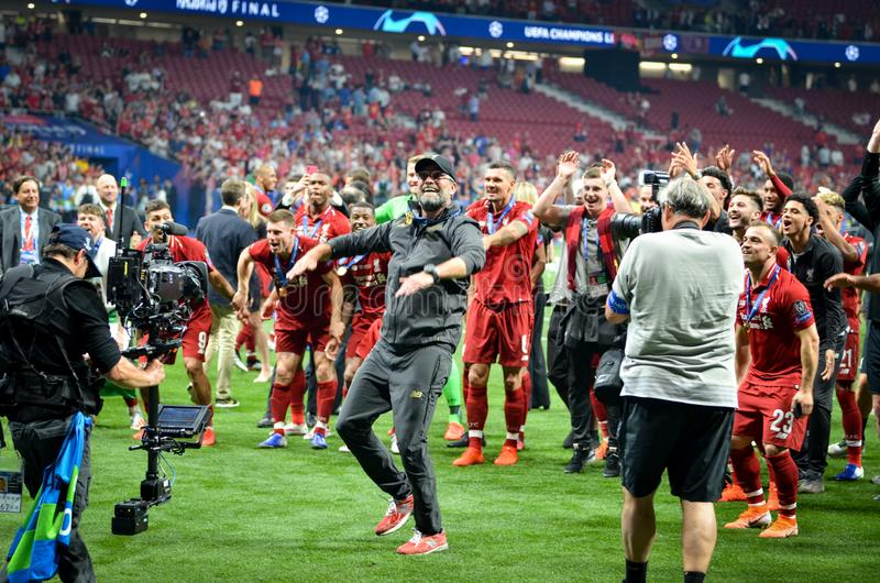 Madrid, Spain - 01 MAY 2019: Jurgen Klopp and Liverpool players celebrate their winning of the UEFA Champions League 2019 after. The final game against royalty free stock photo