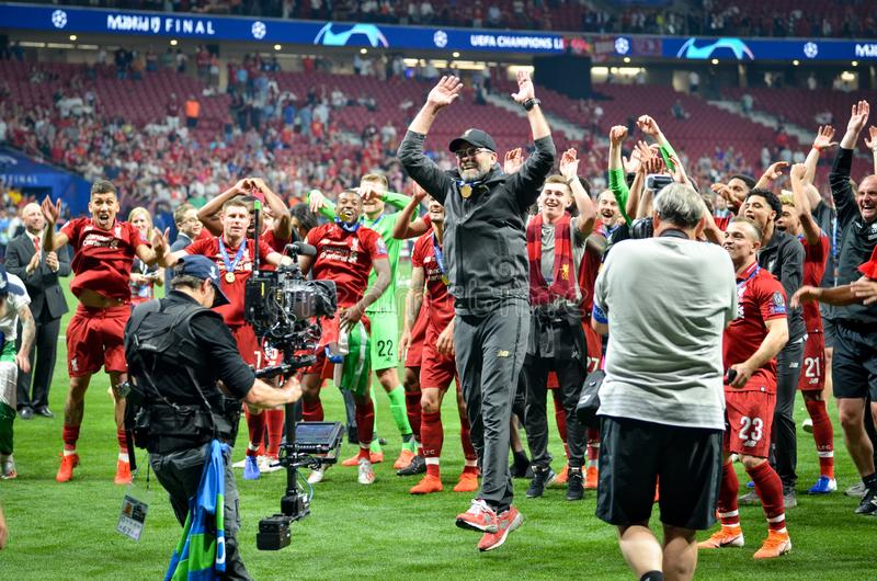Madrid, Spain - 01 MAY 2019: Jurgen Klopp and Liverpool players celebrate their winning of the UEFA Champions League 2019 after. The final game against royalty free stock images