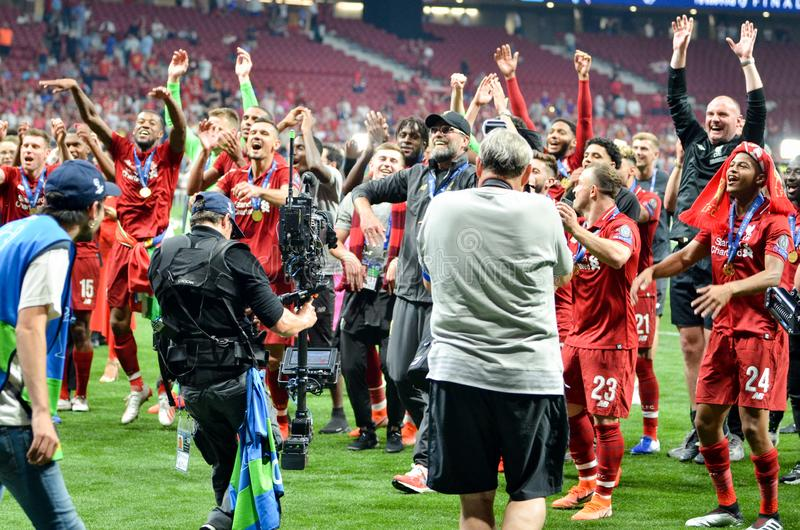 Madrid, Spain - 01 MAY 2019: Jurgen Klopp and Liverpool players celebrate their winning of the UEFA Champions League 2019 after. The final game against royalty free stock photos