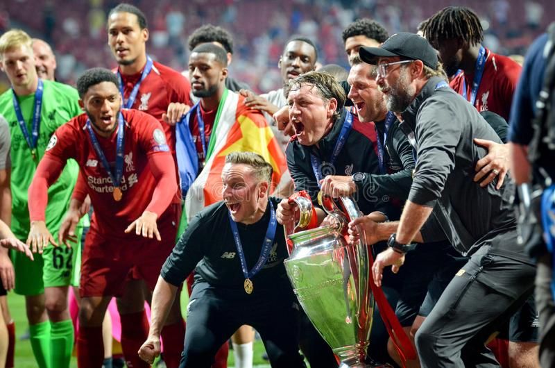 Madrid, Spain - 01 MAY 2019: Jurgen Klopp and Liverpool players celebrate their winning of the UEFA Champions League 2019 after. The final game at Wanda royalty free stock image