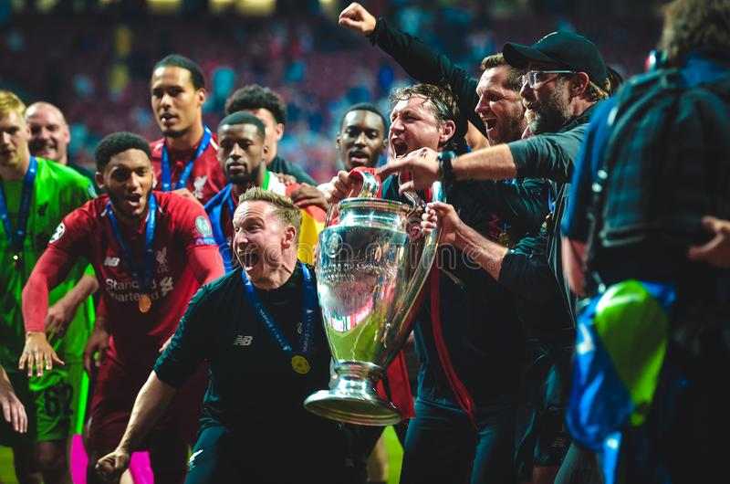 Madrid, Spain - 01 MAY 2019: Jurgen Klopp and Liverpool players celebrate their winning of the UEFA Champions League 2019 after. The final game at Wanda royalty free stock photography