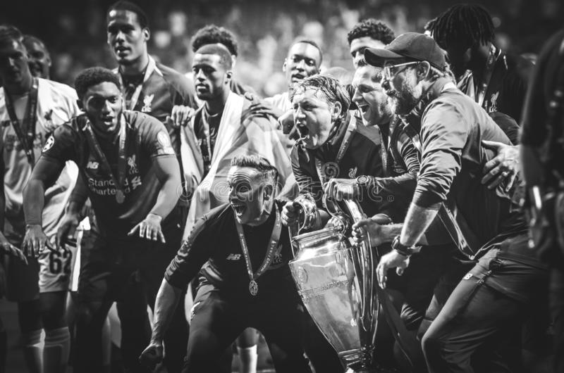 Madrid, Spain - 01 MAY 2019: Jurgen Klopp and Liverpool players celebrate their winning of the UEFA Champions League 2019 after. The final game at Wanda stock photography
