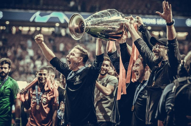 Madrid, Spain - 01 MAY 2019: Jurgen Klopp and Liverpool players celebrate their winning of the UEFA Champions League 2019 after. The final game at Wanda royalty free stock photo