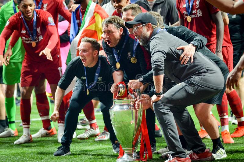 Madrid, Spain - 01 MAY 2019: Jurgen Klopp and Liverpool players celebrate their winning of the UEFA Champions League 2019 after. The final game at Wanda stock photos