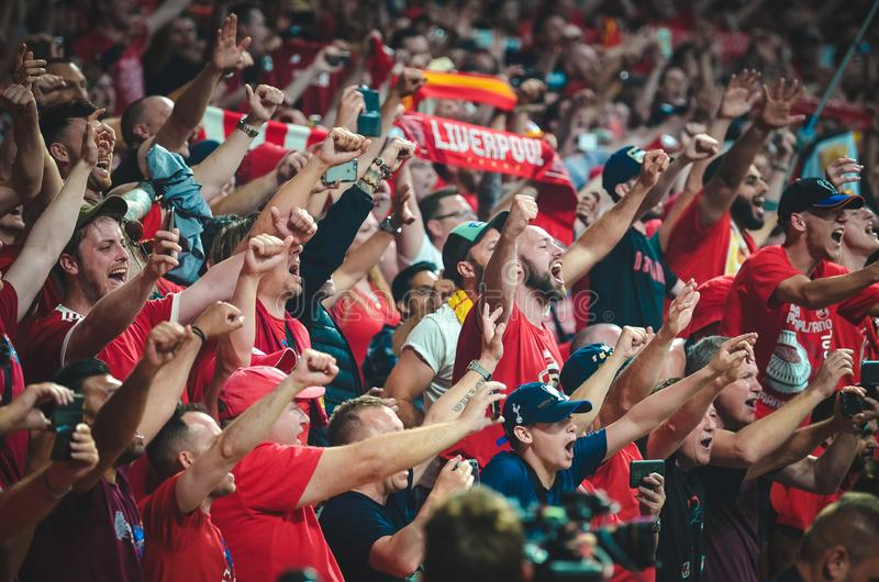 Madrid, Spain - 01 MAY 2019: Liverpool fans and spectators celebrate their winning of the UEFA Champions League 2019  at Wanda. Metropolitano, Spain stock photography