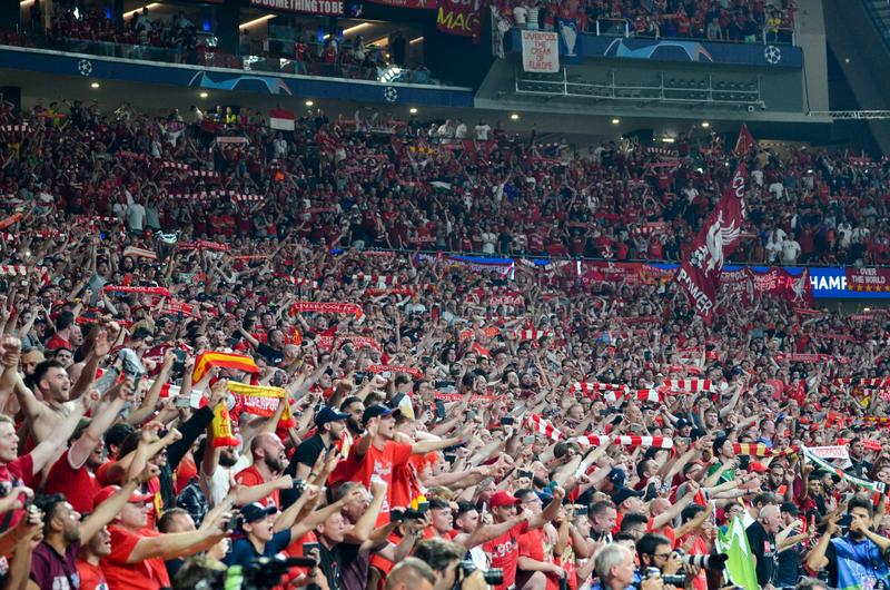 Madrid, Spain - 01 MAY 2019: Liverpool fans and spectators celebrate their winning of the UEFA Champions League 2019  at Wanda. Metropolitano, Spain royalty free stock photo