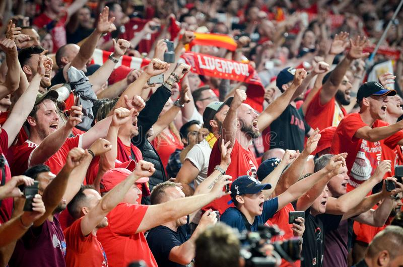 Madrid, Spain - 01 MAY 2019: Liverpool fans and spectators celebrate their winning of the UEFA Champions League 2019  at Wanda. Metropolitano, Spain royalty free stock image