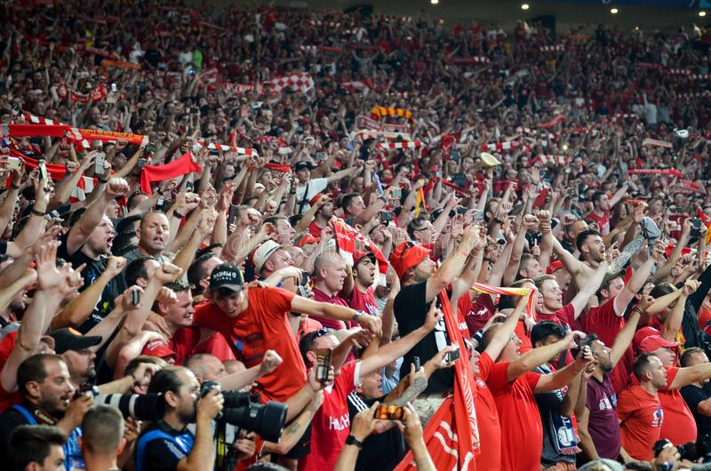 Madrid, Spain - 01 MAY 2019: Liverpool fans and spectators celebrate their winning of the UEFA Champions League 2019  at Wanda. Metropolitano, Spain stock images