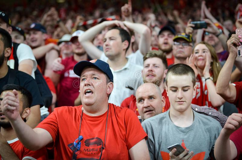 Madrid, Spain - 01 MAY 2019: Liverpool fans and spectators celebrate their winning of the UEFA Champions League 2019  at Wanda. Metropolitano, Spain royalty free stock photos