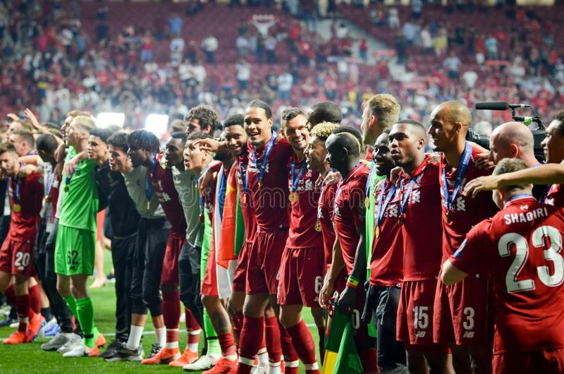 Madrid, Spain - 01 MAY 2019: Liverpool players celebrate their winning of the UEFA Champions League 2019 after the final game. Against Tottenham Hotspur at stock photography