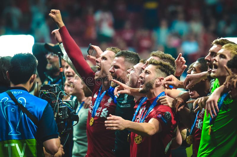 Madrid, Spain - 01 MAY 2019: Liverpool players celebrate their winning of the UEFA Champions League 2019 after the final game. Against Tottenham Hotspur at stock image