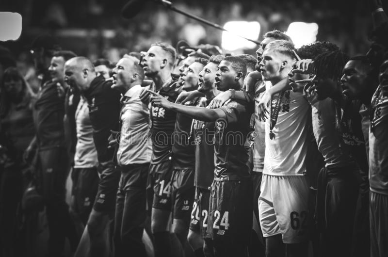 Madrid, Spain - 01 MAY 2019: Liverpool players celebrate their winning of the UEFA Champions League 2019 after the final game. Against Tottenham Hotspur at stock images