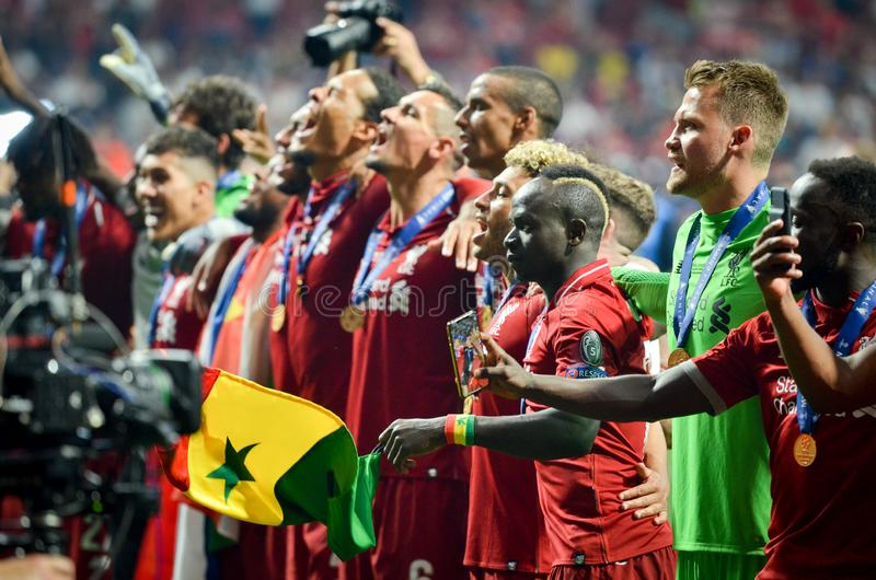 Madrid, Spain - 01 MAY 2019: Liverpool players celebrate their winning of the UEFA Champions League 2019 after the final game. Against Tottenham Hotspur at stock photos