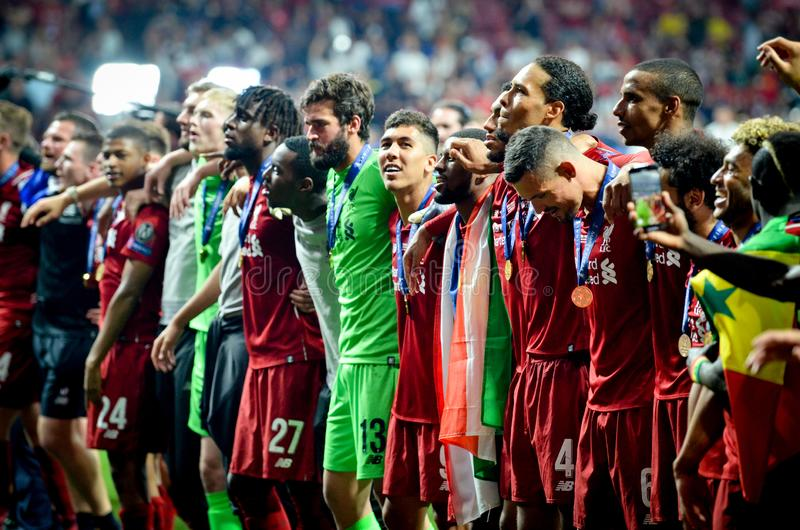 Madrid, Spain - 01 MAY 2019: Liverpool players celebrate their winning of the UEFA Champions League 2019 after the final game. Against Tottenham Hotspur at stock photo