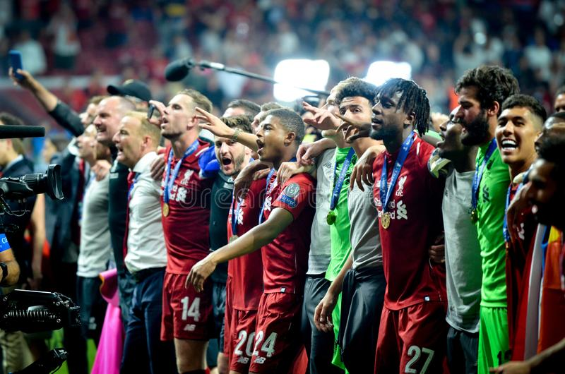 Madrid, Spain - 01 MAY 2019: Liverpool players celebrate their winning of the UEFA Champions League 2019 after the final game. Against Tottenham Hotspur at royalty free stock photo