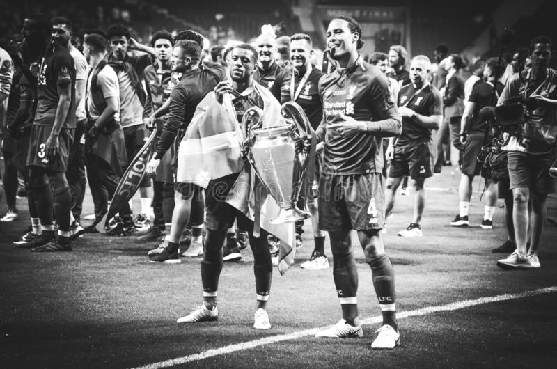 Madrid, Spain - 01 MAY 2019: Liverpool players celebrate their winning of the UEFA Champions League 2019 after the final game. Against Tottenham Hotspur at royalty free stock photos