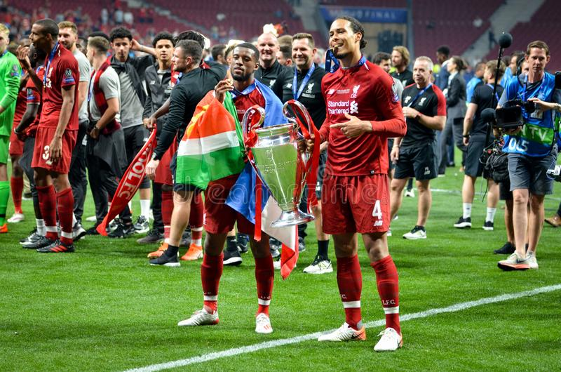 Madrid, Spain - 01 MAY 2019: Liverpool players celebrate their winning of the UEFA Champions League 2019 after the final game. Against Tottenham Hotspur at royalty free stock images