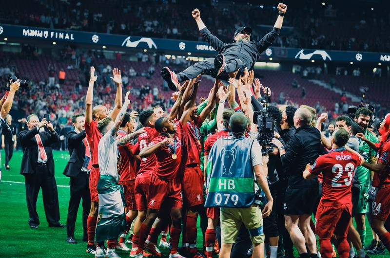 Madrid, Spain - 01 MAY 2019: Liverpool players throw Jгrgen Klopp in honor of the their winning of the UEFA Champions League 2019. After the final game stock image