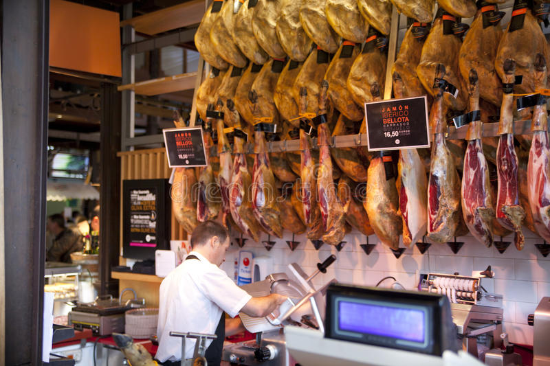 MADRID, SPAIN - MAY 28, 2014 Mercado San Miguel market, famous food market in the centre of Madrid royalty free stock image