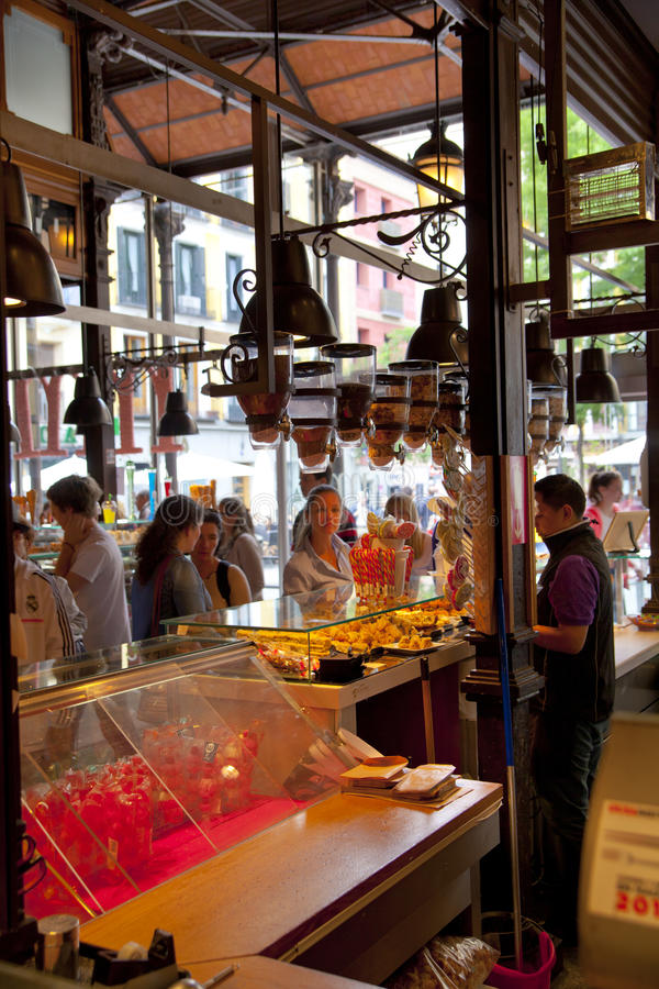 MADRID, SPAIN - MAY 28, 2014 Mercado San Miguel market, famous food market in the centre of Madrid royalty free stock images