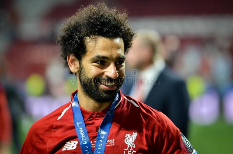 Madrid, Spain - 01 MAY 2019: Mohamed Salah celebrate their winning of the UEFA Champions League 2019 after the final game royalty free stock photography