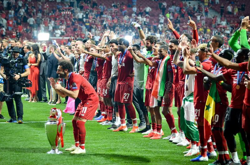 Madrid, Spain - 01 MAY 2019: Mohamed Salah with cup celebrate their winning of the UEFA Champions League 2019 after the final game. At Wanda Metropolitano stock photography