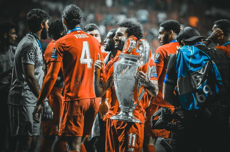 Madrid, Spain - 01 MAY 2019: Mohamed Salah with cup celebrate their winning of the UEFA Champions League 2019 after the final game. At Wanda Metropolitano royalty free stock photo
