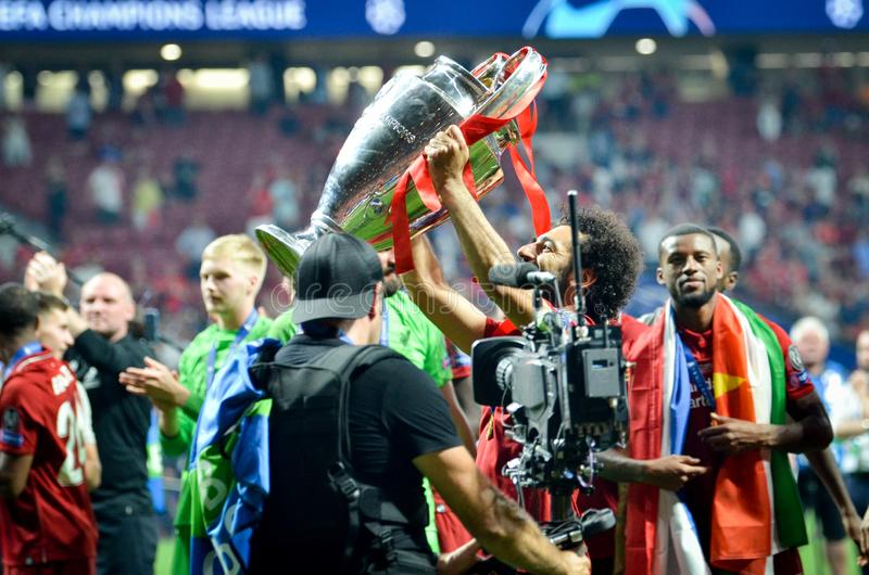 Madrid, Spain - 01 MAY 2019: Mohamed Salah with cup celebrate their winning of the UEFA Champions League 2019 after the final game. At Wanda Metropolitano stock images