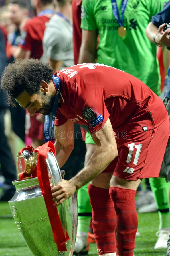 Madrid, Spain - 01 MAY 2019: Mohamed Salah with cup celebrate their winning of the UEFA Champions League 2019 after the final game. At Wanda Metropolitano royalty free stock image