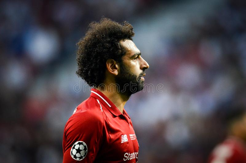 Madrid, Spain - 01 MAY 2019: Mohamed Salah during the UEFA Champions League 2019 final match between FC Liverpool  vs Tottenham royalty free stock images