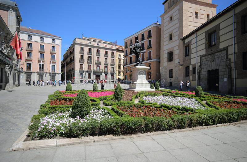 Madrid, Spain, May, 7, 2017. Monument at Plaza de la Villa The City Square in Madrid, Spain. royalty free stock image