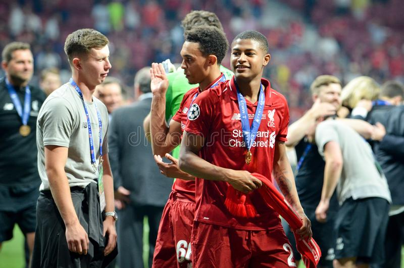 Madrid, Spain - 01 MAY 2019: Rhian Brewster celebrate their winning of the UEFA Champions League 2019 after the final game against. Tottenham Hotspur at Wanda stock images