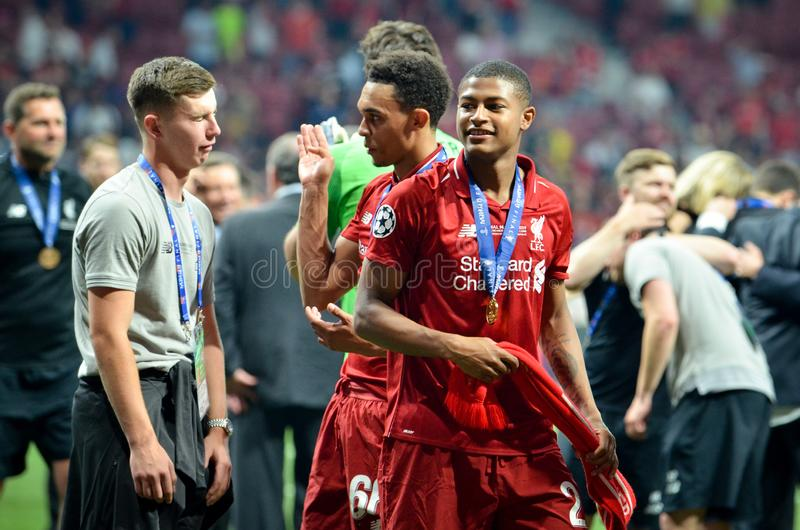 Madrid, Spain - 01 MAY 2019: Rhian Brewster celebrate their winning of the UEFA Champions League 2019 after the final game against. Tottenham Hotspur at Wanda stock photography