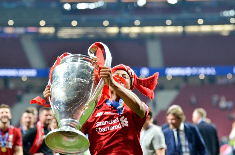 Madrid, Spain - 01 MAY 2019: Rhian Brewster with cup celebrate their winning of the UEFA Champions League 2019 after the final. Game against Tottenham Hotspur royalty free stock photography