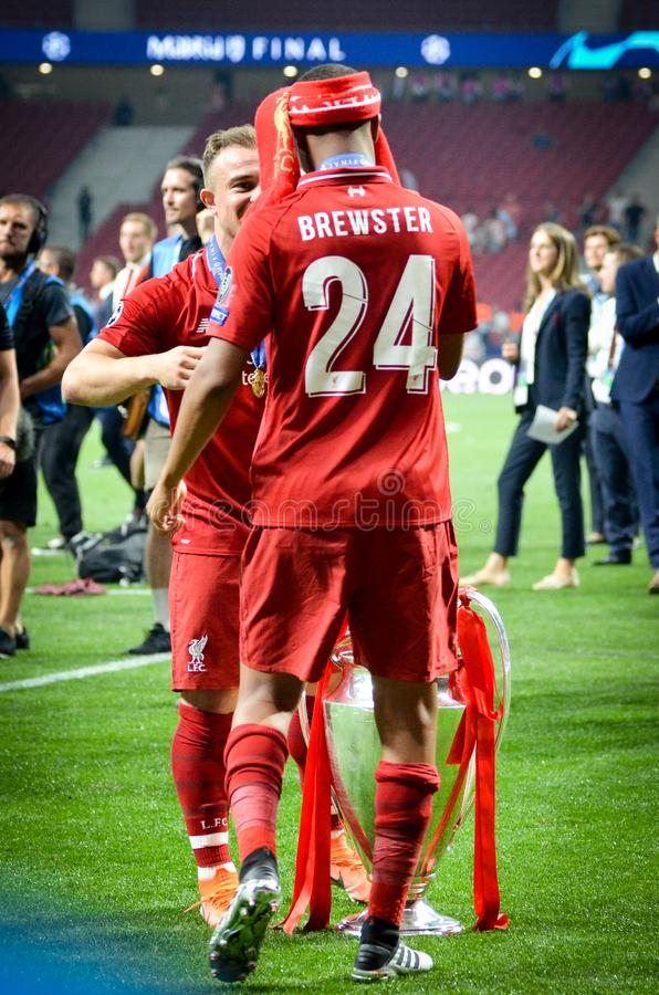 Madrid, Spain - 01 MAY 2019: Rhian Brewster with cup celebrate their winning of the UEFA Champions League 2019 after the final. Game against Tottenham Hotspur royalty free stock photos